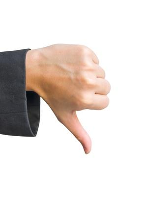 Female hand signaling thumb down photo