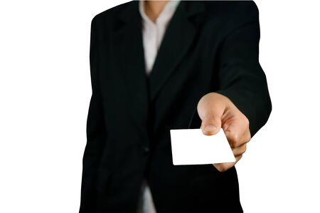 Blank card in hand. On a white background.  photo