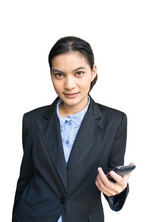 Portrait of young happy asian woman on phone  photo