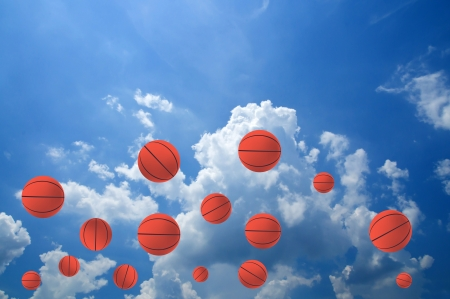 basketball background: Basketball ball in the sky