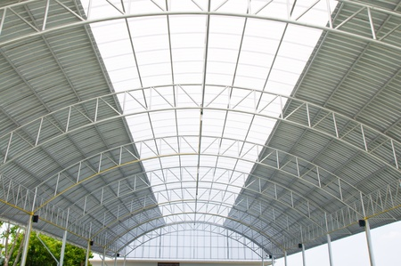 Roof supported by beam in grandstand