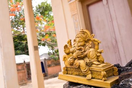 indian god: stone sculpture of indian god ganesh