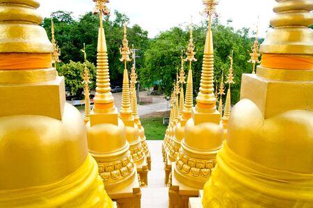 Top five hundred pagodas at beautiful in the Wat pasawangboon Saraburi, Thailand  photo