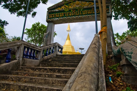 walk way to temple , thailand photo