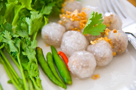 Tapioca balls or Tapioca dumpling  steamed tapioca dumpling with pork filling inside
