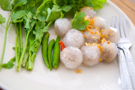 Tapioca balls or Tapioca dumpling  steamed tapioca dumpling with pork filling inside photo