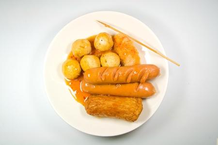 meat ball and hotdog fry photo