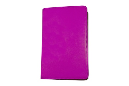 violet notebook isolated on white photo