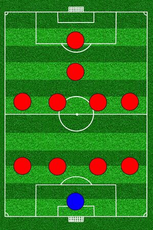 soccer field tactic 4-4-1-1 photo