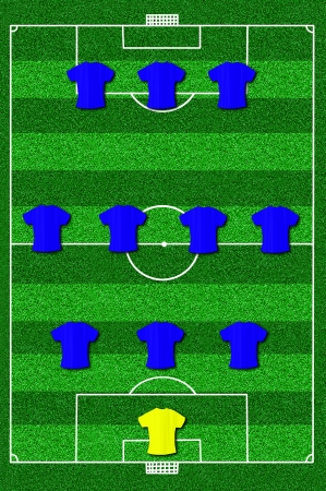 lay forward: Soccer field layout with formation 3-4-3 Stock Photo