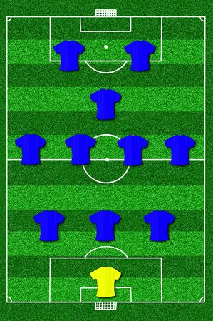 lay forward: Soccer field layout with formation 3-4-1-2 Stock Photo