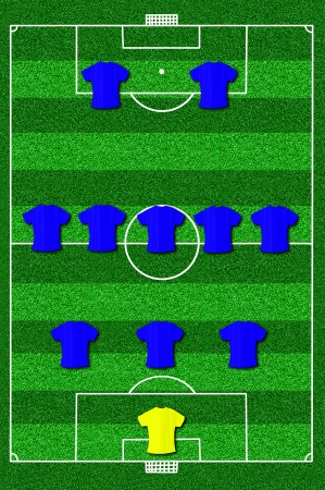 Soccer field layout with formation 3-5-2 photo