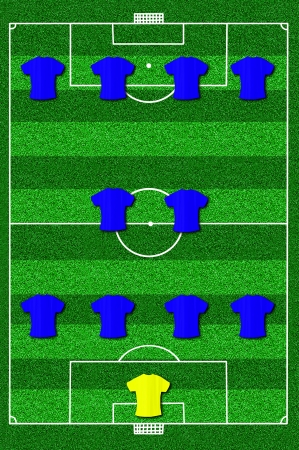 Soccer field layout with formation 4-2-4  photo