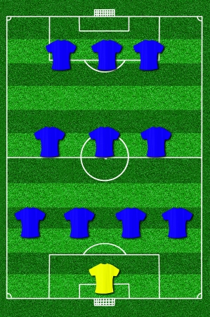 lay forward: Soccer field layout with formation 4-3-3 Stock Photo