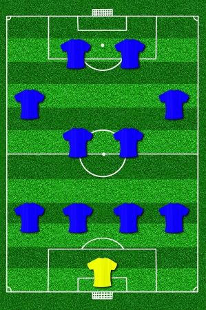 lay forward: Soccer field layout with formation 4-4-2 Attack