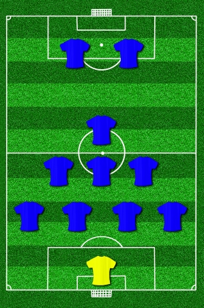 lay forward: Soccer field layout with formation 4-3-1-2