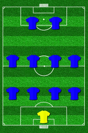 Soccer field layout with formation 4-4-2  photo