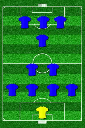lay forward: Soccer field layout with formation 4-2-1-3