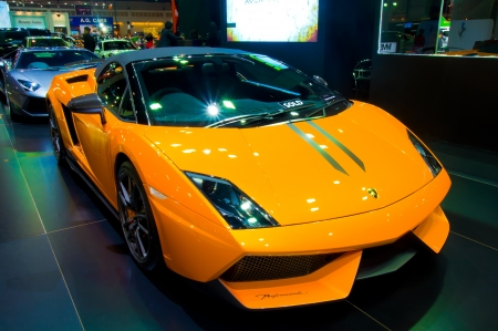 BANGKOK - May 20 Lamborghini Galardo sports car on display at the Super Car   Import Car Show at Impact Muang Thong Thani on May 20, 2012 in Bangkok, Thailand