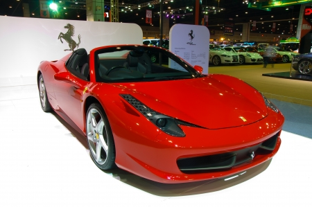 BANGKOK - May 20 Ferrari 458 sports car on display at the Super Car   Import Car Show at Impact Muang Thong Thani on May 20, 2012 in Bangkok, Thailand