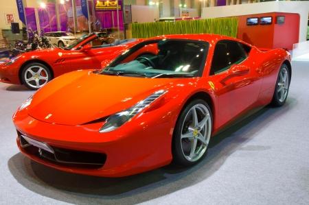 BANGKOK - May 20 Ferrari 458 sports car on display at the Super Car   Import Car Show at Impact Muang Thong Thani on May 20, 2012 in Bangkok, Thailand   Stock Photo - 13714528
