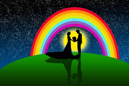Bride and groom in romantic dreamland photo