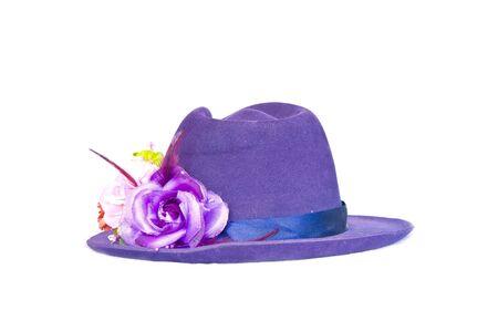Women purple hat with a flower photo