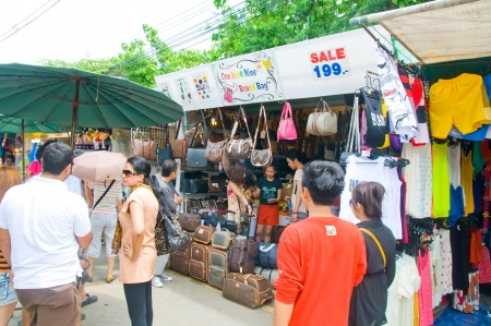 Tourist shopping in Chatuchak weekend market Bangkok, Thailand  Editorial