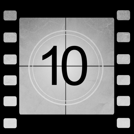 countdown: Film countdown 10 Stock Photo