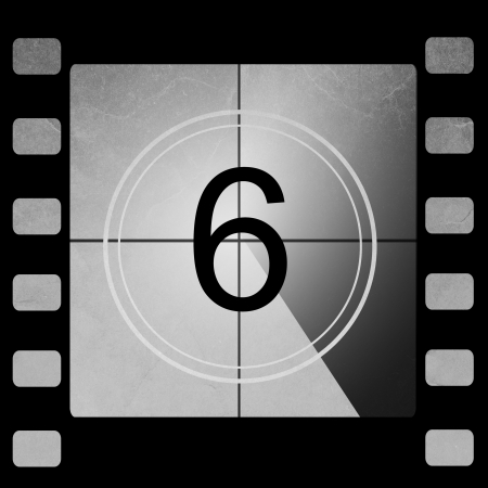 number six: Film countdown 6 Stock Photo