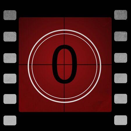 5 0: Film countdown 0 Stock Photo