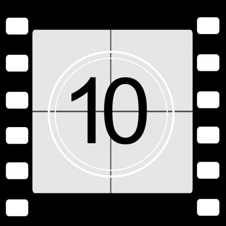 countdown: Film countdown 10 Stock Photo