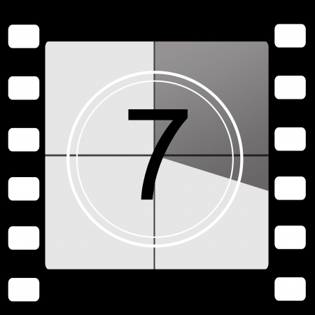number seven: Film countdown 7 Stock Photo