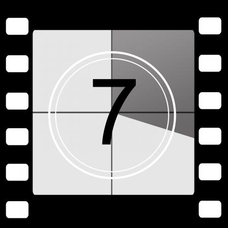 5 7: Film countdown 7 Stock Photo