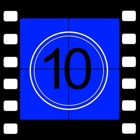35 mm: Film countdown 10 Stock Photo