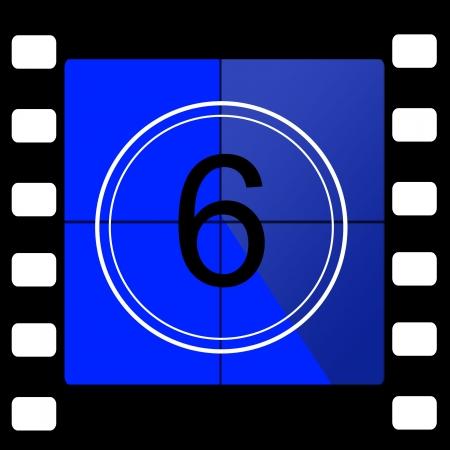 35 mm: Film countdown 6 Stock Photo