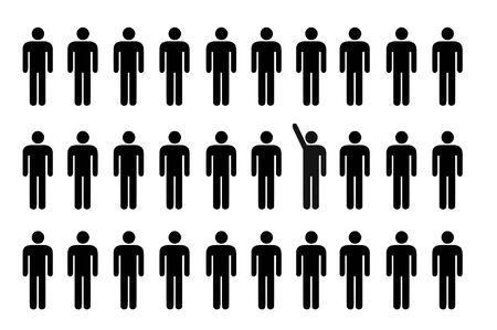 chosen: a man is raising his hand on group