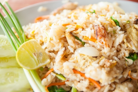 Thai fried rice with crab meat at a seafood restaurant Stock Photo - 14402086
