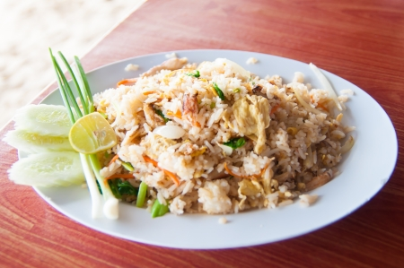 squids: Thai fried rice with crab meat at a seafood restaurant