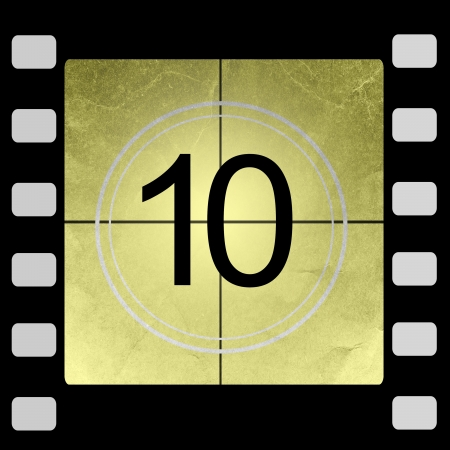 number 10: Film countdown 10 Stock Photo