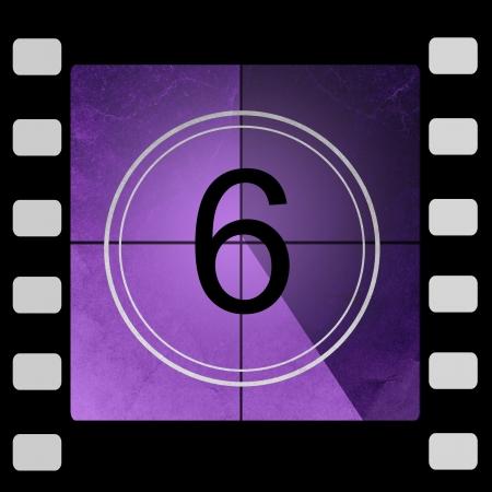 sixth: Film countdown 6 Stock Photo