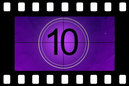 old timer: Film countdown 10 Stock Photo