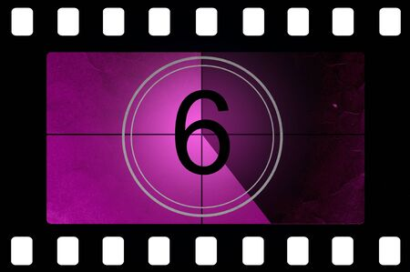 5 6: Film countdown 6 Stock Photo