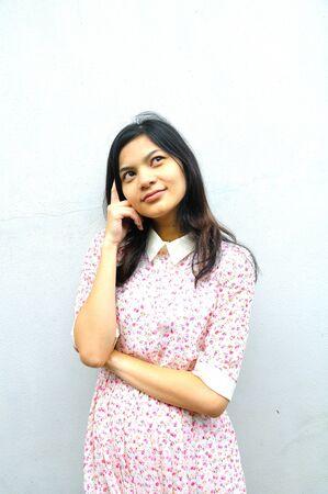 perplex: Confused woman, closeup portrait on background  Stock Photo
