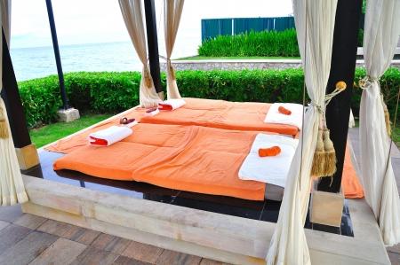 luxury hotel room: Spa Bed Stock Photo