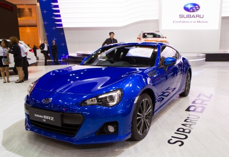 NONTHABURI - NOVEMBER 28  Subaru BRZ 2 0i, Supercar or sport car, on display at The 30th Thailand International Motor Expo on November 28, 2013 in Nonthaburi, Thailand
