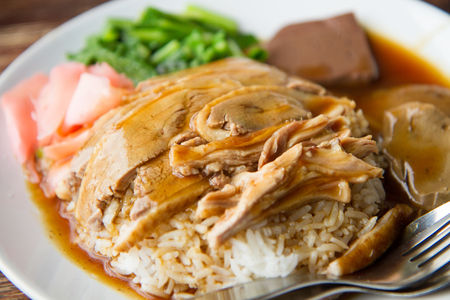 close up of roasted duck with rice