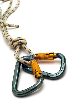 to climb: isolated two alpinism carabiners and rope