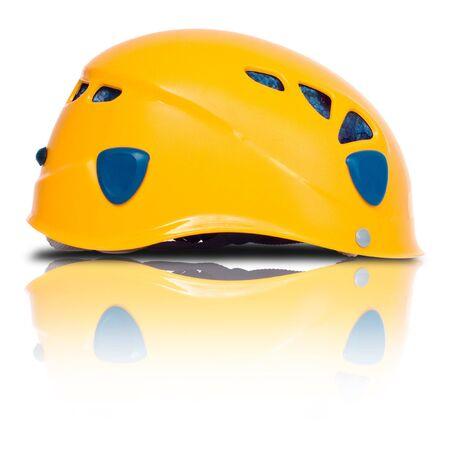 isolated orange climbing helmet, left side view