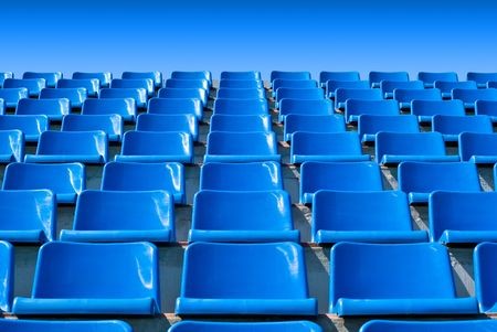 tribune: empty blue stadium seats